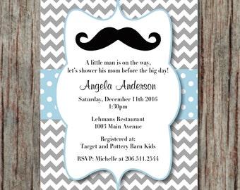 Baby Shower Invite Printable Invites Editable Little Man Mustache Instant Download Invitations Powder Blue Grey Chevron 5x7 - 002