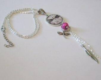 Saltire cabochon Dragonfly fuchsia and silver