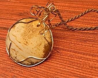 Picture jasper wore wrapped pendant