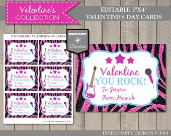 INSTANT DOWNLOAD Editable Rockstar Valentine's Day Cards / You Type Names / Valentine's Collection