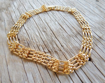 REDUCED PRICE Vintage Napier Chain Link Bib Choker Gold Necklace