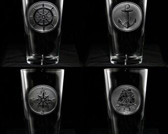 Nautical Glassware Set, Sailboat, Anchor, Beach House Glasses, Coastal Decor