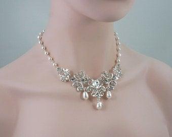 MELANIE - Wedding Necklace, Bridal Necklace, Pearl Necklace, Bridal Jewelry, Swarovski Pearl, Crystal Necklace