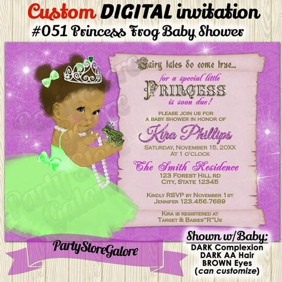 frog princess baby shower invitation vintage ballerina girl, Baby shower invitations