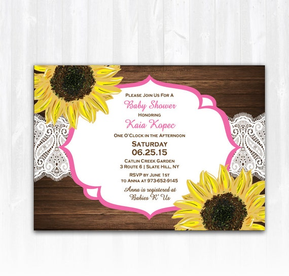 items similar to sunflower baby shower invitation diy printable