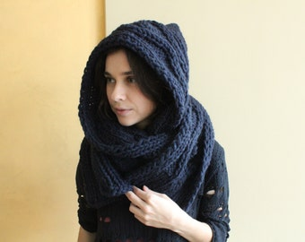 Hooded Scarf. Long Scarf. Wool Scarf. Chunky Scarf. Scoodie Scarf. Wool navy Scarf. navy blue hooded scarf. knit scoodie scarf