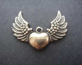 Solid bronze angel wings heart, bronze angel wings heart, bronze heart