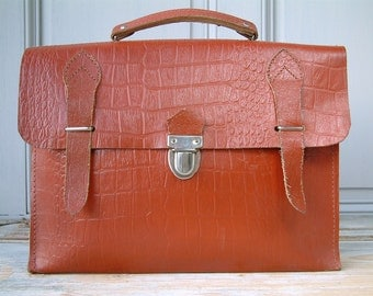 Vintage french genuine leather SMALL schoolbag / briefcase. Embossed faux crocodile. Micro - laptop case. Tablet case. Bohemian chic.