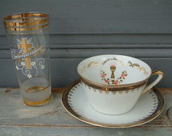 French vintage FIRST COMMUNION glass and porcelain cup. Communion gift.