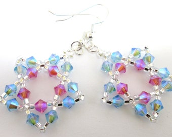 Star earrings, swarovski star, pentagram earrings, crystal star, aquamarine and pink, swarovski AB 2X, aquamarine star,