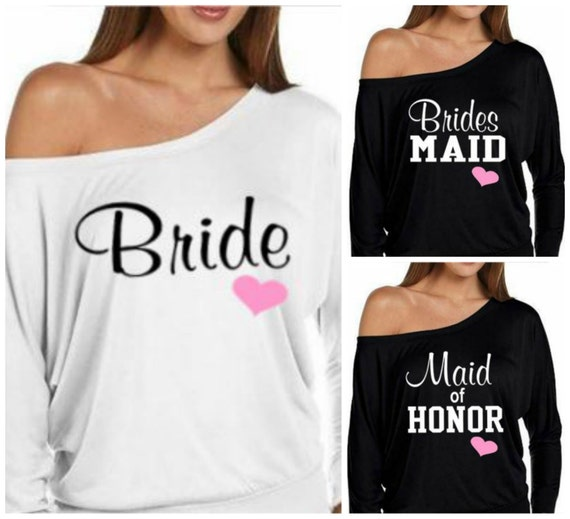 MORE COLORS, Off Shoulder Bride Sweatshirt, Bridesmaid Sweatshirt, Maid of Honor Sweatshirt,