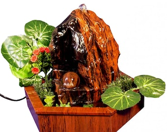 Indoor fountain made from natural obsidian | home decor | nice interior design for feng shui fans |