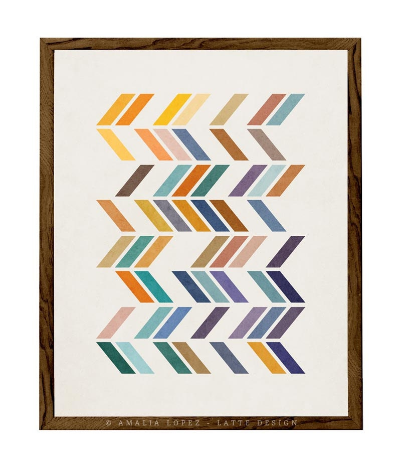 Slanted 2 Geometric Art Retro Wall Art Mid Century Print