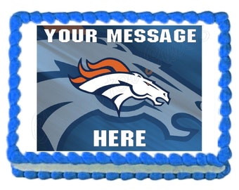 Broncos Football team party decoration edible cake image cake topper  frosting sheet