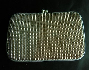 Silver Studded Whiting and Davis Clutch with Tucked Chain Strap