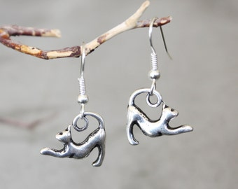 Cat earrings kitties cats dangle playfully from their tails purrrfect gift