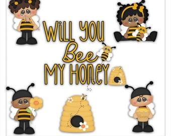 DIGITAL SCRAPBOOKING CLIPART - Will You Bee My Honey