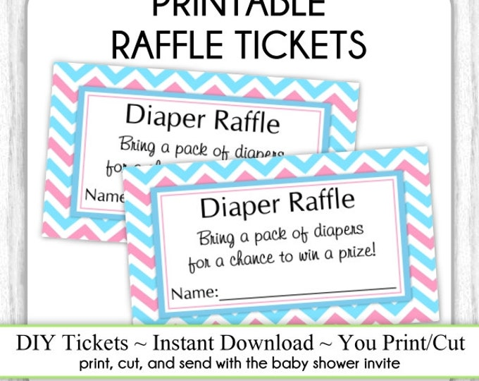 INSTANT DOWNLOAD, Pink and Blue Diaper Raffle ticket, Baby Shower, Chevron Diaper Raffle Tickets, Baby Shower Raffle Tickets, You Print, DIY