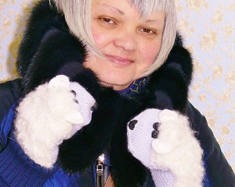 Animal gloves, mittens sheep. Mittens knitted Sheep  white and blue wool mohair. blue mitten sheep, funny mittens.