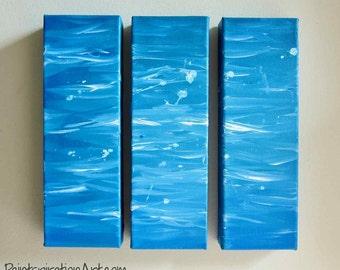 Abstract Ocean Art Beach Decor - Ocean Acrylic Paintings Tryptic Painting - Aqua Wall Art - Custom Canvas Art Seaside Beach Art - Nautical