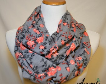 Coral Peach Floral on Slate Gray Infinity Scarf