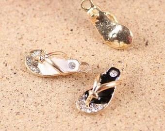 10 pcs of antique gold set with diamonds little slippers charm pendants 10x22mm