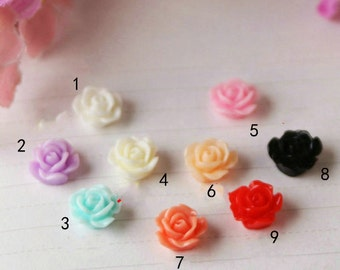 20pcs  Flowers - Mixed Colors of Beautiful Resin Bobby Pin flower Charm 10mm GLOSSY