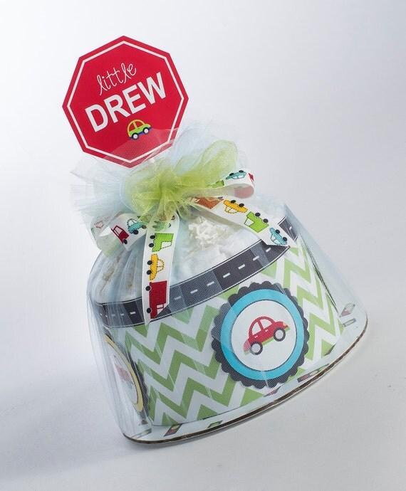 Diaper Cake - Diaper Cakes - Baby Shower Gift - Boy Diaper Cake - Baby Shower Decor - Cars and Trucks Diaper Cake - Chevron Diaper Cake