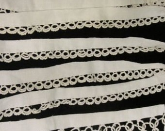 Vintage Hand Tatting  ///  Over 3 Yards  ///  White Tatting  ///  Hand Tatted Lace