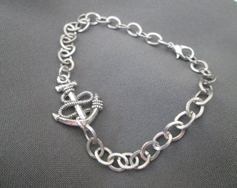 Anchor Bracelet - Rhodium Plated
