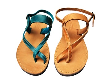Toe-wrapper Strappy Sandals Women Leather Barefoot Sandals Greek Handmade Summer Shoes