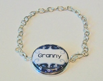 New Blue and White Floral Print Granny Grandmother Silver Chain Fashion Bracelet 3 Sizes Available