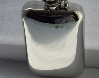 6oz stampted captive top pewter flask