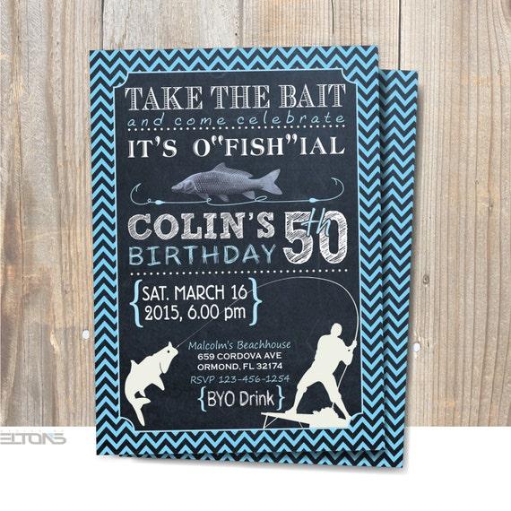 Fishing Birthday Party Invitation Printable / 30th 40th