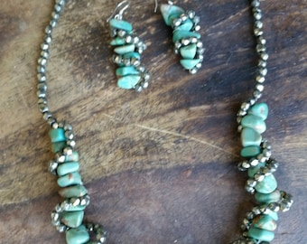 Necklace---Blue-green Turquoise Nuggets and Pyrite Nuggets---Sterlling Silver