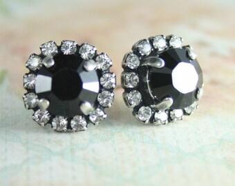 Black crystal Swarovski halo earrings,Black crystal earrings,Black stud earrings,Leverback earrings,Black wedding jewelry,Black earrings,Jet