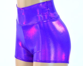 High Waist Grape Purple Metallic Holographic Spandex Booty Shorts Rave Clubwear  -150199