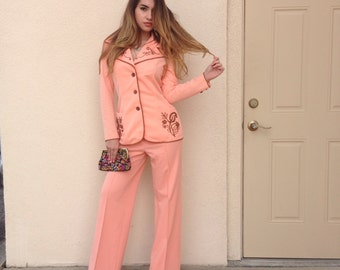 1970s Estivo Hippie Boho Festival Outfit 2 Piece Pants & Shirt Set Coral with Metallic Embroidery/S