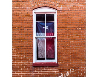 TX Flag Fine Art Photography Brick Wall Texas Pride Urban Red White and Blue Window Industrial Western Large Wall Art Home Decor San Marcos