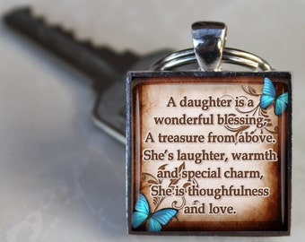 SALE! Daughter Keychain - A daughter is a wonderful blessing - Gift for Daughter