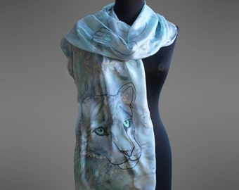 Hand painted silk scarf. Ready to ship.