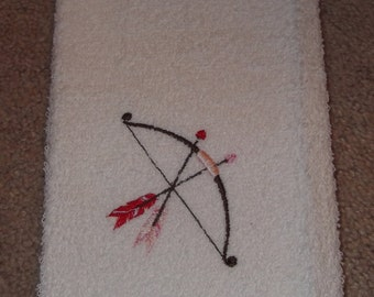 Embroidered ~ CUPIDS ARROW~ Valentine Kitchen Bath Hand Towel