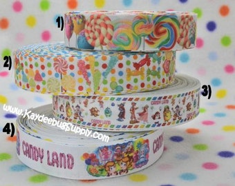 3 yards Lollipops, Whirly Pops, Candy - 1  inch  - Printed Grosgrain Ribbon