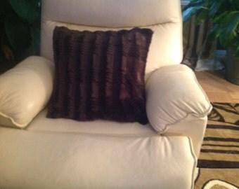 Brown Faux Throw Pillow