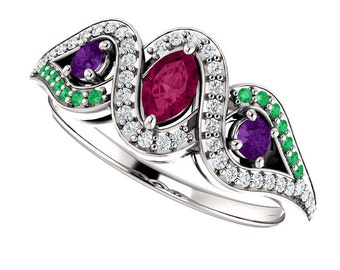 Rhodolite Garnet, Emerald, Amethyst Black & White Diamonds 14K White Gold