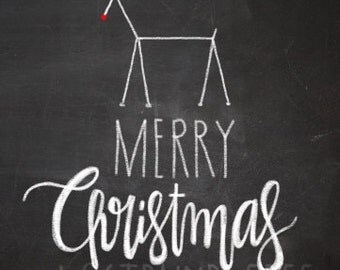 Merry Christmas! Chalkboard Print Instant Download Chalk Hand Lettered Hand Drawn 3 sizes perfect for Christmas Cards