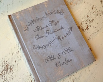 vintage wedding guest book, rustic wedding, autumn wedding, country wedding book, shabby chic wedding book