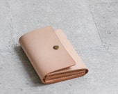 nude color vegetable cow hide leather wallet pouch