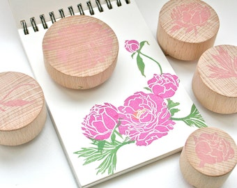 Peony Flower Stamp Set - Hand Carved Rubber Stamps by Little Stamp Store