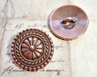 Tierracast Antique Copper Large Bali Style Button - High Quality 17mm